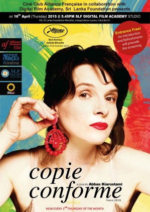 Copie conforme. France, 2011. Drame psychologique d'Abbas Kiarostami avec Juliette Binoche, William Shimell et Jean-Claude Carrière (102 minutes).