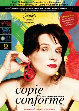 Copie conforme. France, 2011. Drame psychologique d'Abbas Kiarostami avec Juliette Binoche, William Shimell et Jean-Claude Carrière (102 minutes).